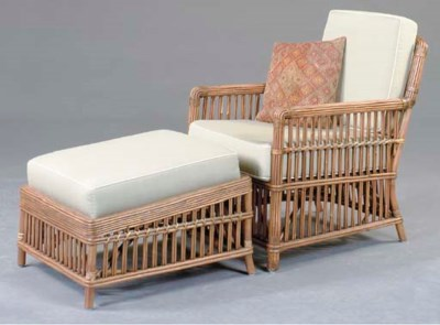 A SET OF THREE RATTAN PATIO CL