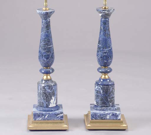 A PAIR OF BLUE STONE BALUSTER-