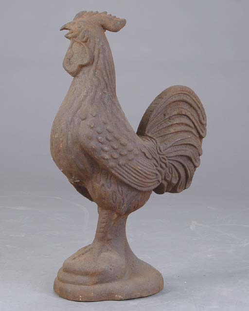 A CAST IRON MODEL OF A ROOSTER