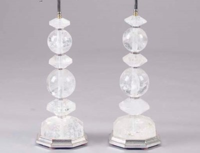 A PAIR OF ROCK CRYSTAL LAMPS O