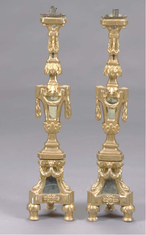 A SET OF FOUR GILTWOOD MIRRORE