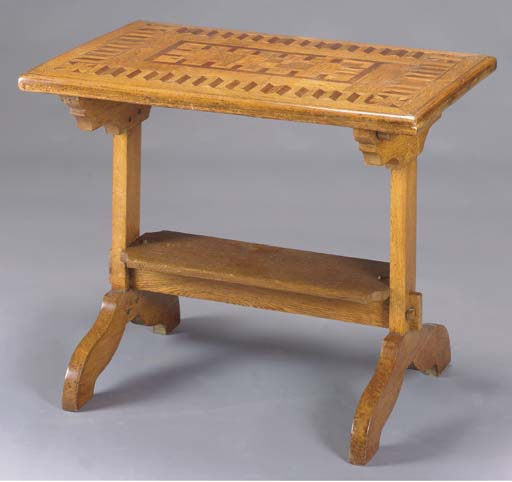 A PARQUETRY INLAID OAK SPECIME