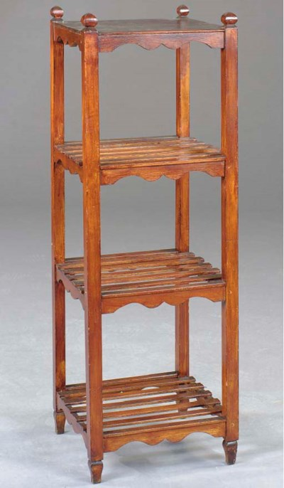 AN ARTS AND CRAFTS OAK ETAGERE