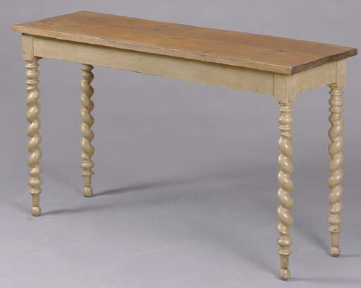 AN OAK AND CREAM PAINTED CONSO