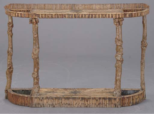 A TWIG VENEERED CONSOLE TABLE/