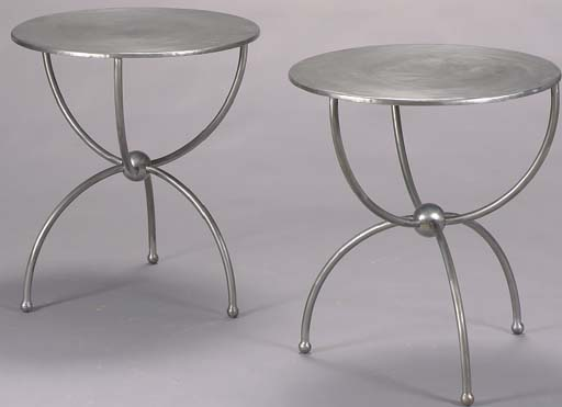 A PAIR OF SILVER-PAINTED STEEL