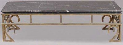 AN IRON AND MARBLE LOW TABLE,