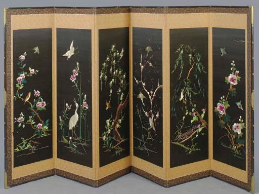 A JAPANESE EMBROIDERED SIX- PA
