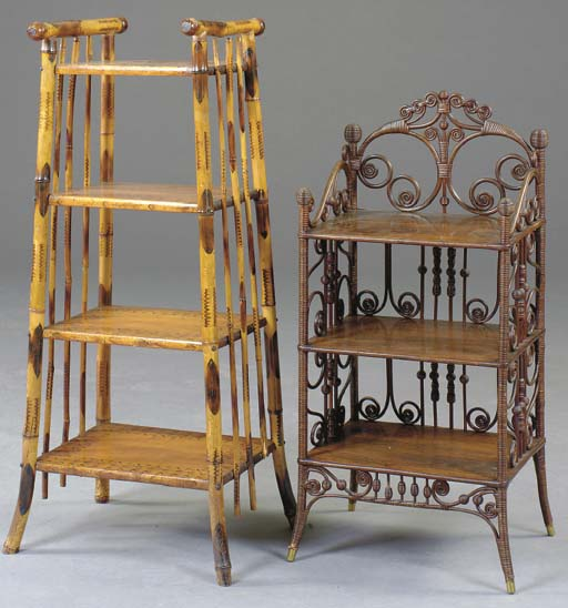 A VICTORIAN BAMBOO ETAGERE TOG