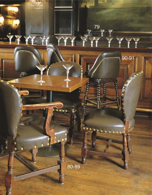 A SET OF EIGHT LEATHER UPHOLST
