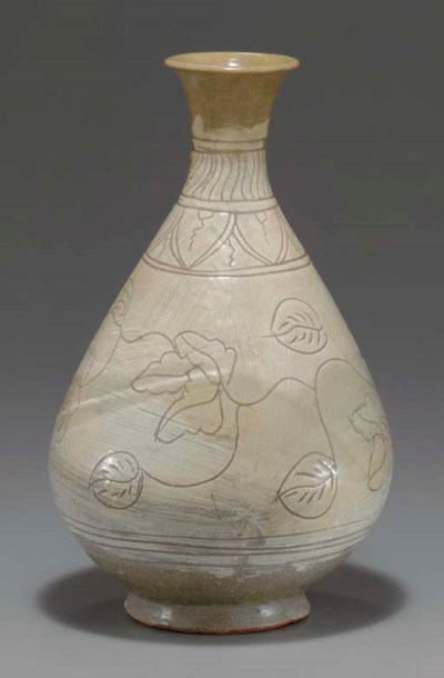 An Incised Punch'ong Bottle