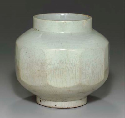 A Faceted White Porcelain Jar