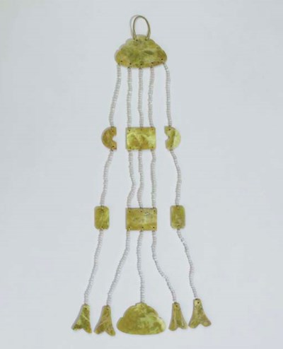 A Serpentine and Glass Pendant