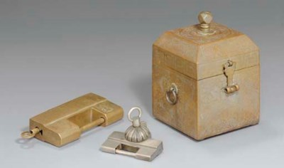 A Bronze Seal Case and Two Bra