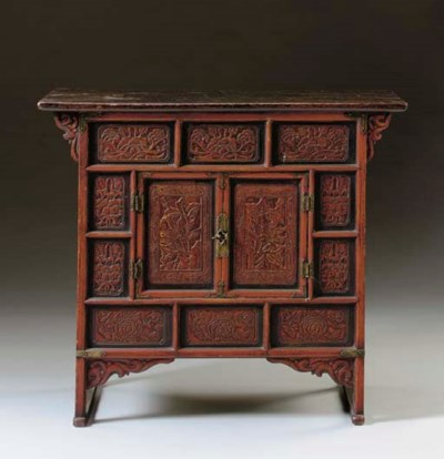 A Red and Black-Painted Wood C