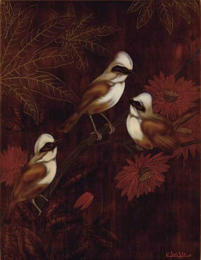 A Lacquered Wood Panel, circa