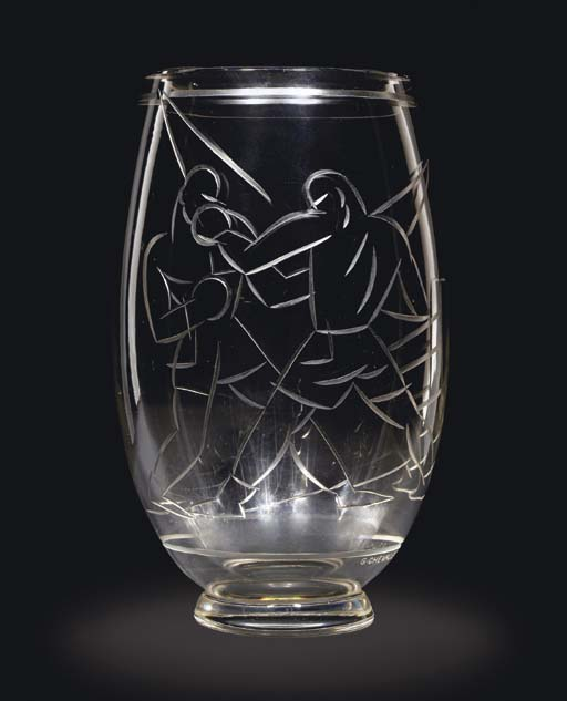A Wheel Cut Glass Vase, 1920s