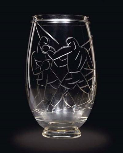 A Wheel Cut Glass Vase, 1920s