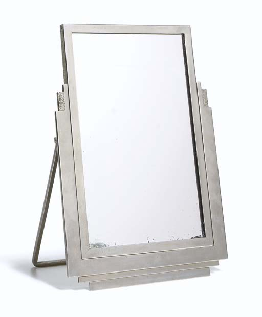 A Nickeled-Metal Table Mirror,