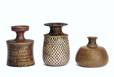 A Group of Three Glazed Cerami