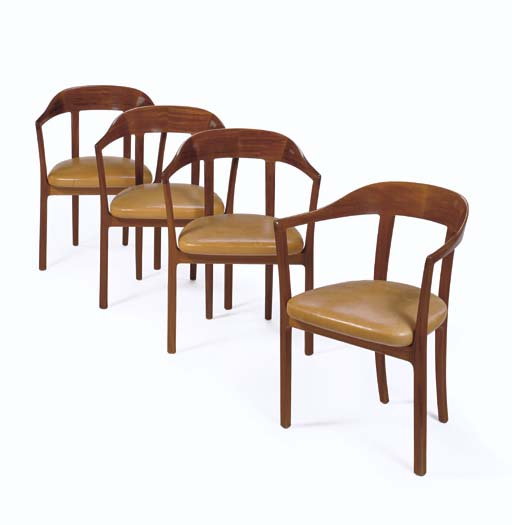 A Set of Four Leather Upholste