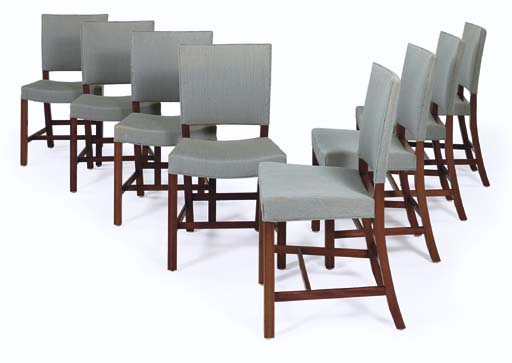 A Set of Eight Upholstered Mah