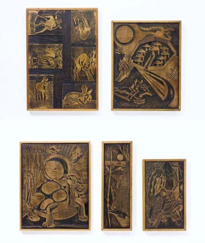 A Group of Five Carved Woodblo