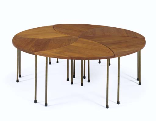 A Teak and Brass Coffee Table,