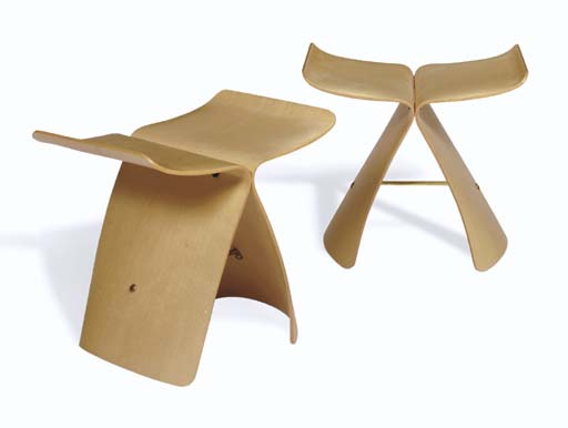 A Pair of Plywood and Brass 'B