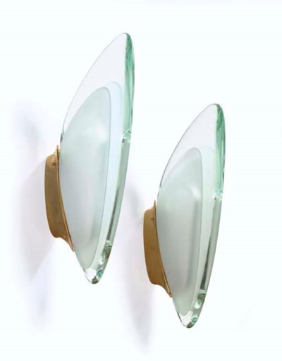 A Pair of Glass and Gilt-Bronz