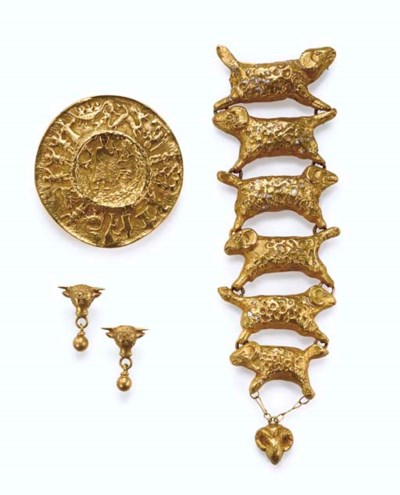 A Group of Gilt-Bronze Jewelry