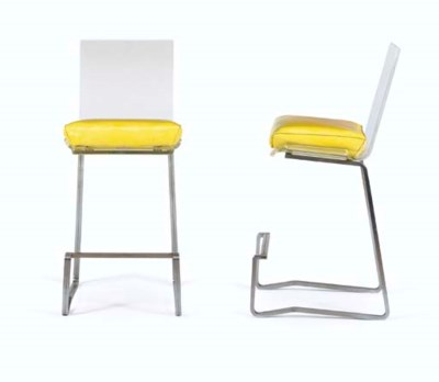 A Pair of Upholstered Vinyl, A