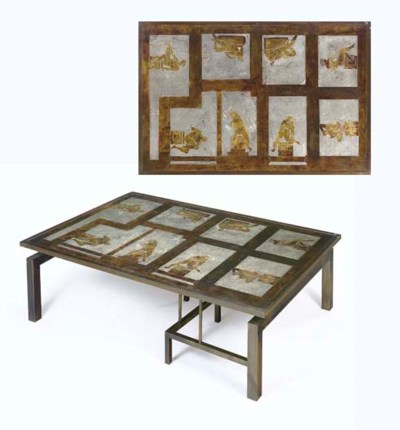 A Patinated Brass Coffee Table