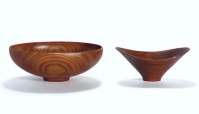 Two Turned Wood Bowls, 1979 an