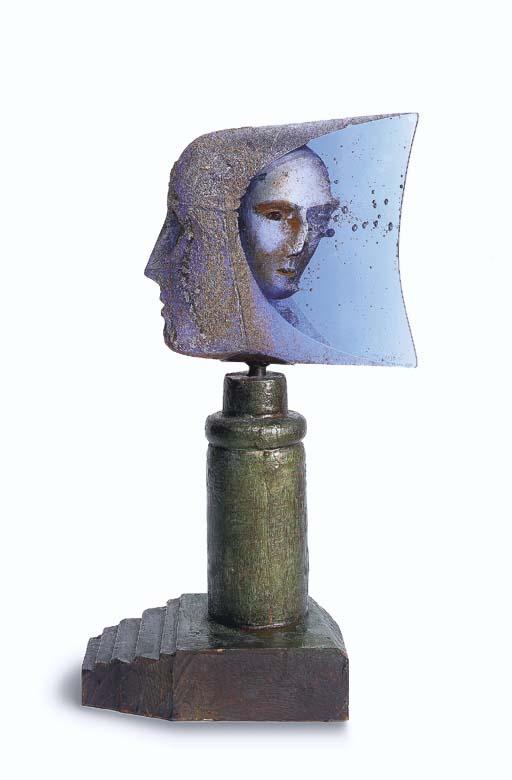 'Janus' A Sand Cast Glass Scul