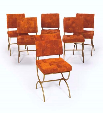 A Set of Six Suede Upholstered