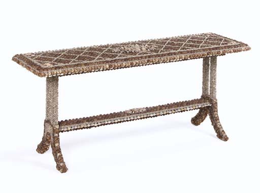 A Shell Encrusted Wood Console