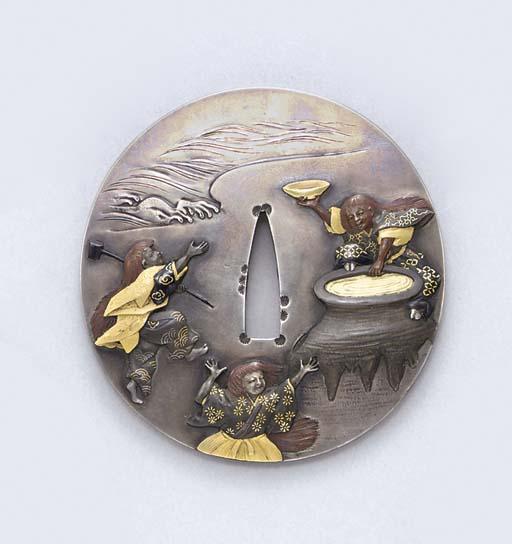 A Silver and Mixed-Metal Tsuba