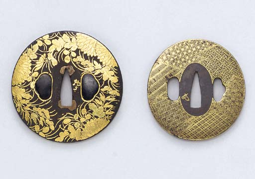 Two Iron Tsuba with Gold Overl
