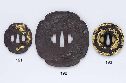 Two Iron Tsuba and a Shoami-Sc