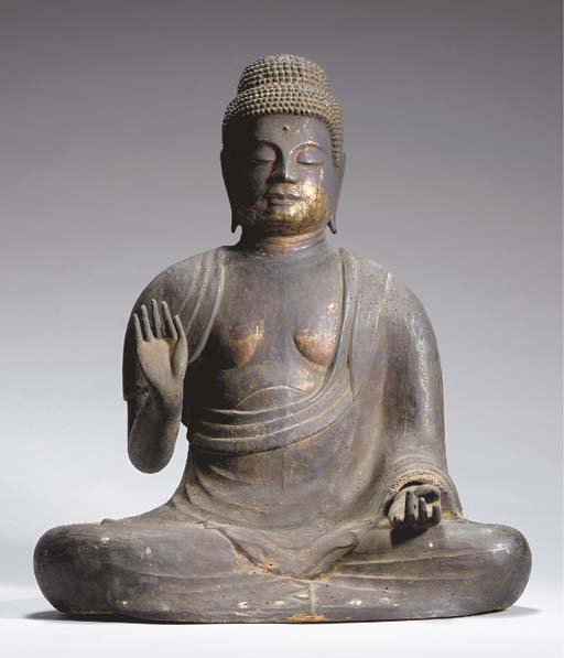 A Wood Figure of Seated Yakush