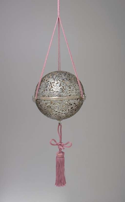 A Silver Hanging Incense Burne