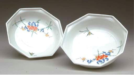 A Pair of Porcelain Octagonal