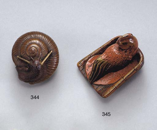 Three Lacquered-Wood Netsuke