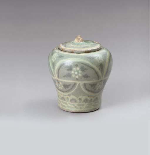 A Small Inlaid Celadon Jar