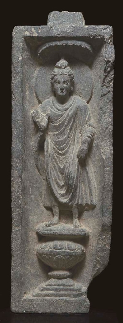 A gray schist relief of Buddha