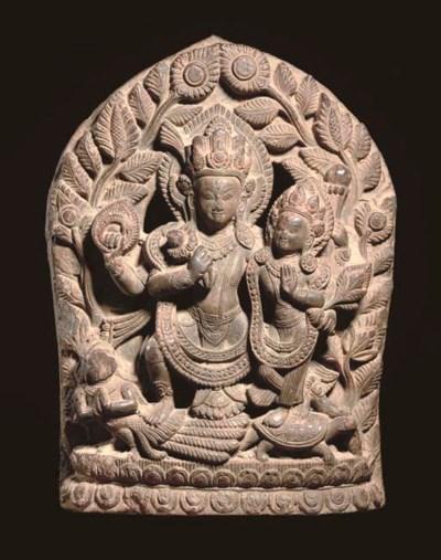 A Stone Stele depicting Vishnu