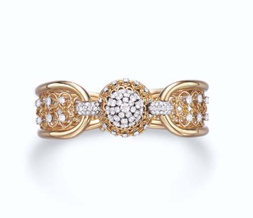 A DIAMOND AND GOLD BRACELET-WA