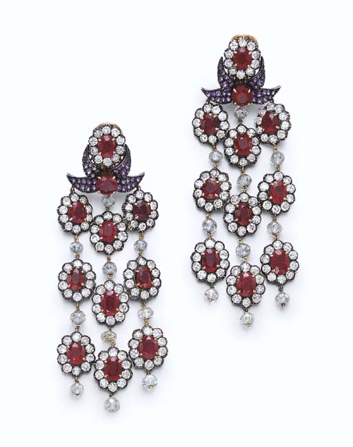 A PAIR OF RUBY, DIAMOND AND AM