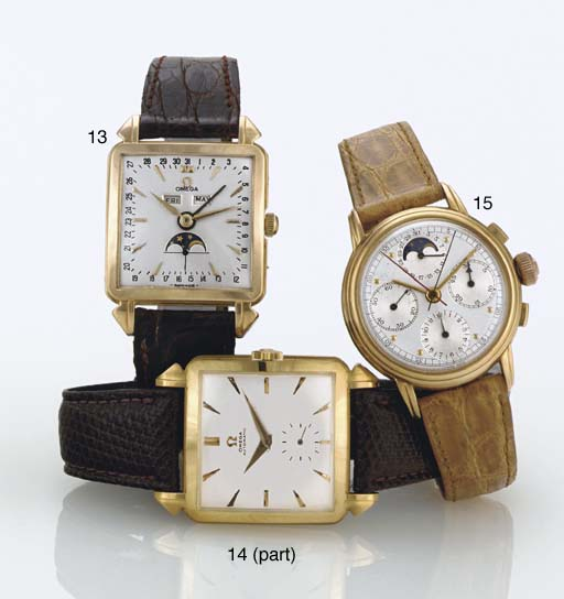 OMEGA. A GROUP OF TWO 18K GOLD